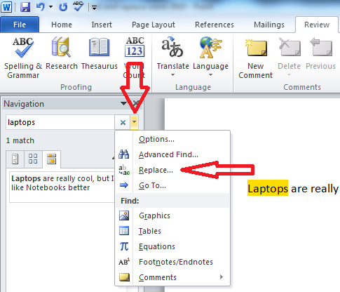 how to look up replaced document word