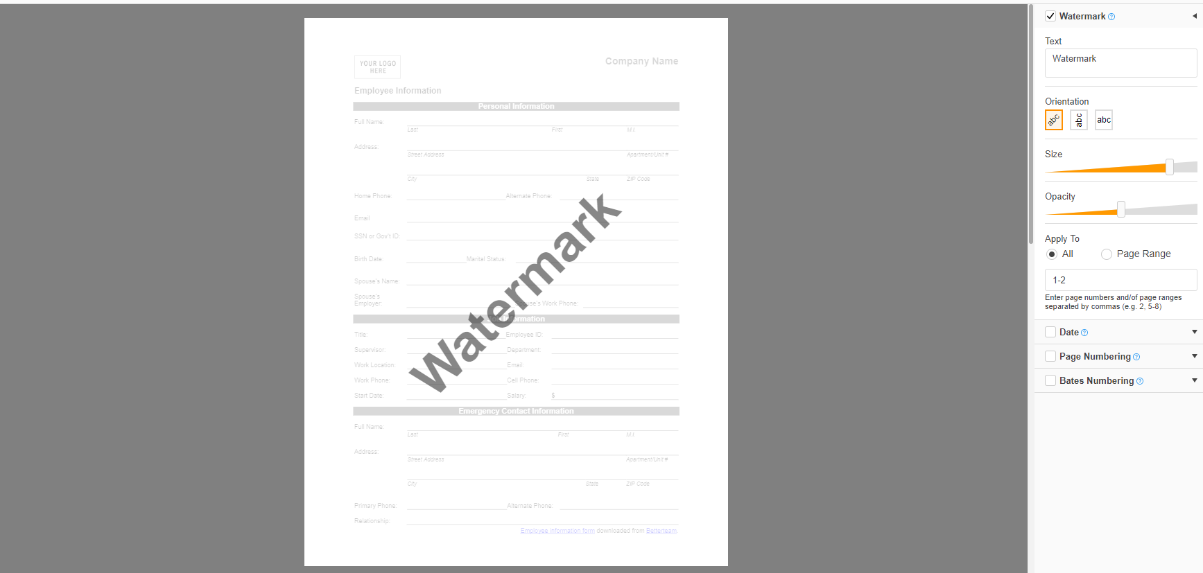 add page to pdf document