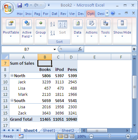 excel document header sort column