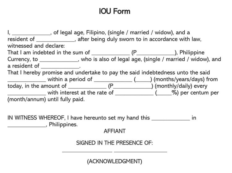 legal document for money owed template