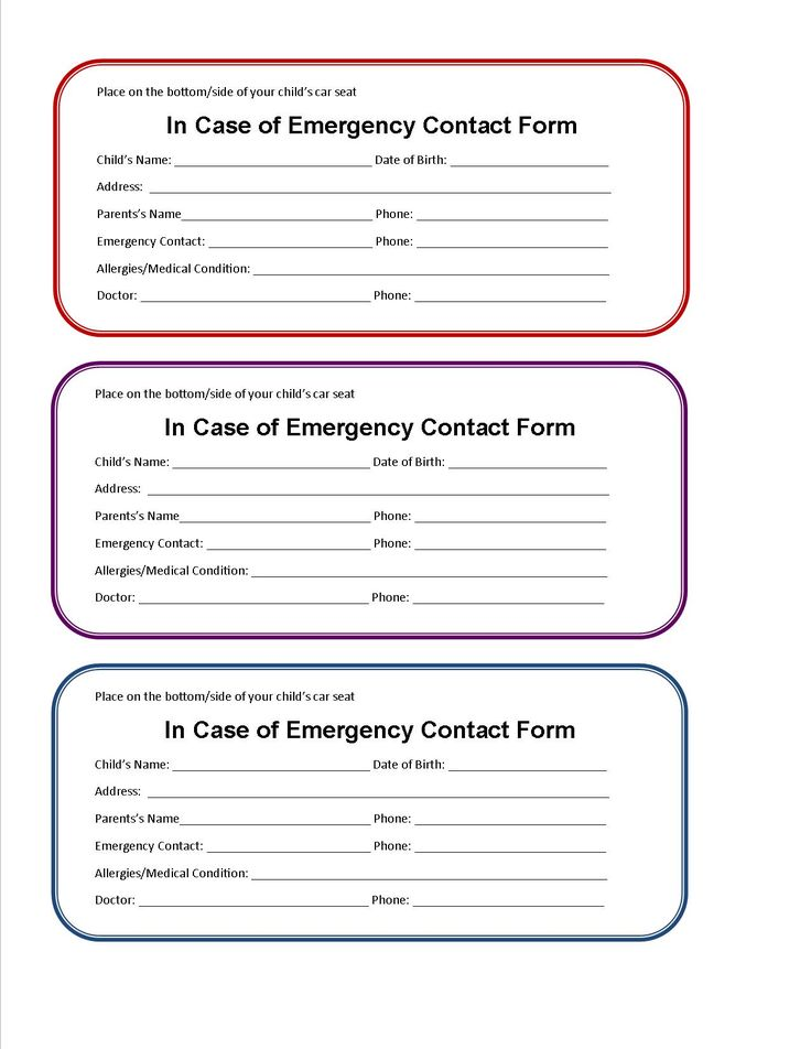 in case of emergency document