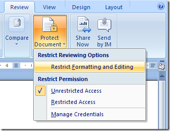 remove the password protect option from word document